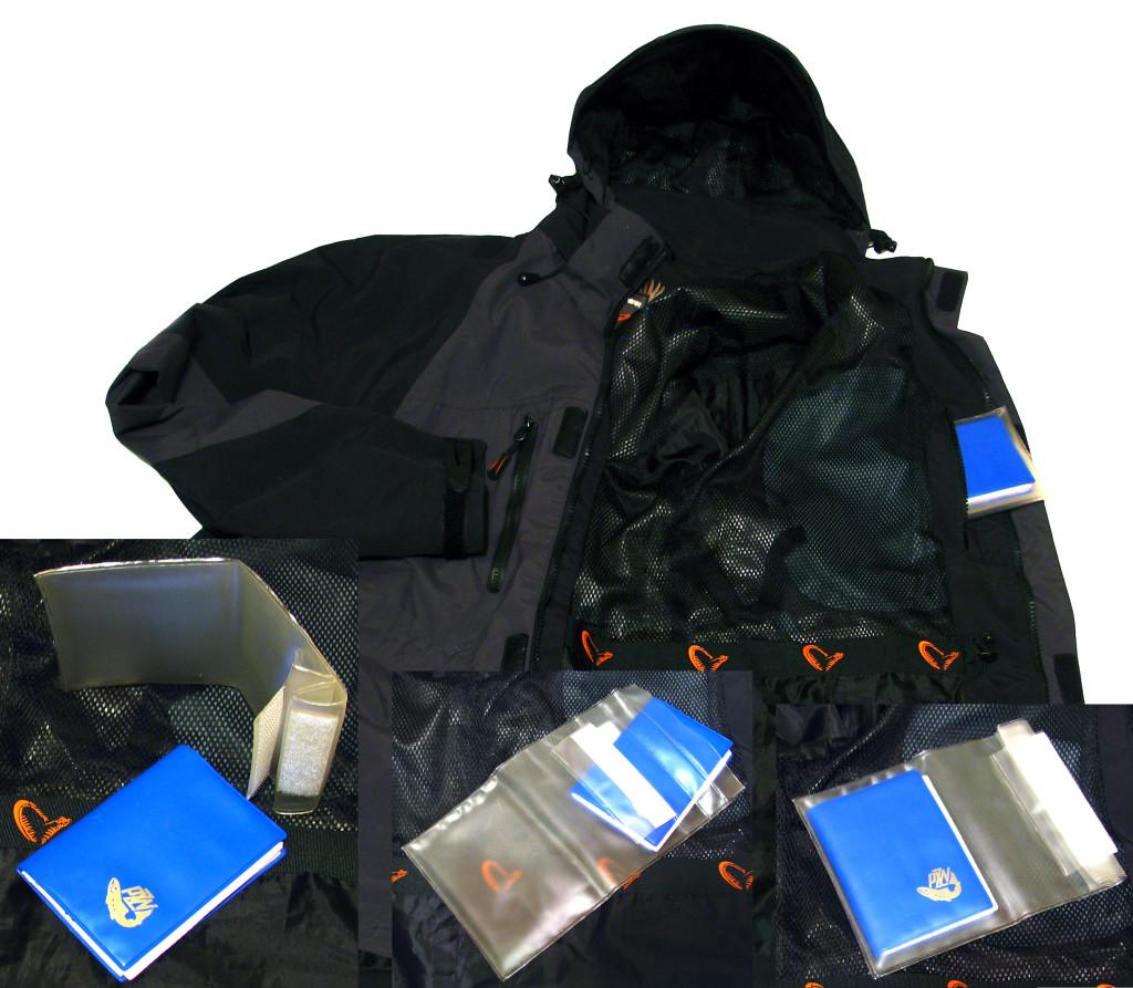W kurtce znajdziemy kieszeń wewnętrzną z dodatkowym pokrowcem na dokumenty